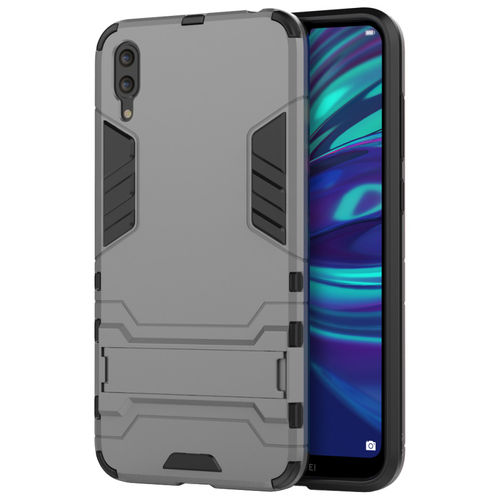Slim Armour Tough Shockproof Case & Stand for Huawei Y7 Pro (2019) - Grey